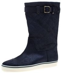 Chanel Blue Textured Quilted Leather Mid Calf Boots