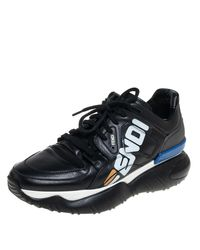 Fendi X Fila Black Leather Fila Mania Platform Trainers