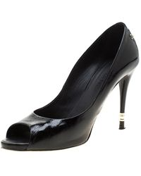 Chanel Black Patent Leather Peep Toe Court Shoes