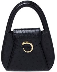 Cartier Black Ostrich Leather Panther Logo Satchel