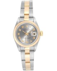 Rolex - Slate 18k Yellow Gold And Stainless Steel Datejust 79163 Women's Wristwatch 26mm - Lyst