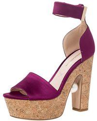 Nicholas Kirkwood Purple Satin Maya Pearl Platform Ankle Strap Sandals