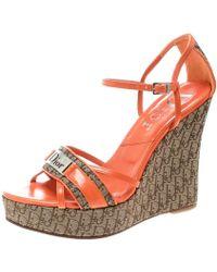 Dior - Orange Leather Sandals - Lyst