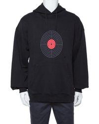 Vetements Black Knit Target Print Distressed Oversized Hoodie