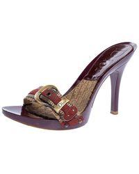 Dior Burgundy Canvas Clogs Sandals - Multicolour