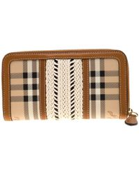 Burberry - Beige/brown House Check Pvc And Leather Zip Around Wallet - Lyst