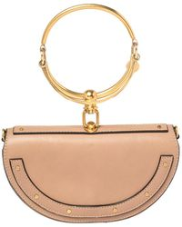 Chloé Beige Leather Small Nile Bracelet Minaudiere Crossbody Bag - Natural