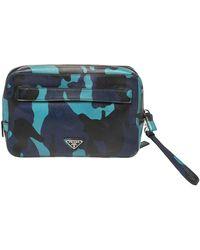 Prada Blue Camouflage Saffiano Lux Leather Travel Organizer