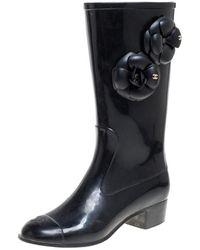 Chanel Black Rubber Camellia Rain Boots