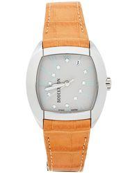 Boucheron Gray Stainless Steel Diamond Leather Mec Tonneau Wristwatch