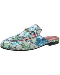 Gucci Blue/grey GG Canvas Floral Print Princetown Mules