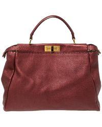 Fendi Burgundy Selleria Leather Large Peekaboo Top Handle Bag - Multicolour
