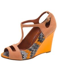 Missoni - Peach Suede And Knit Fabric Peep Toe T Strap Wedge Sandals - Lyst