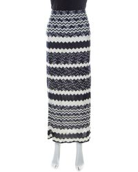 Missoni Bicolor Chevron Crochet Knit Maxi Skirt - Blue