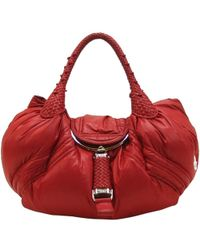 Fendi Red Nylon And Leather Moncler Spy Tote