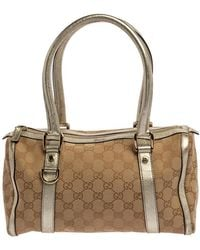 Gucci Beige/gold GG Canvas And Leather Small Joy Boston Bag - Natural