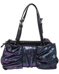 Moschino Holographic Iridescent Leather Satchel - Metallic