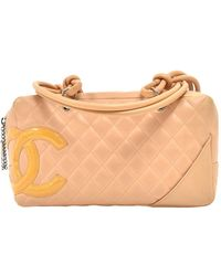 Chanel Brown Quilted Calfksin Leather Cambon Ligne Bowler Bag