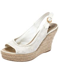 Louis Vuitton White Monogram Canvas And Patent Leather Platform Espadrille Wedge Sandals Size 38.5