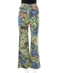 Dolce & Gabbana Gray Denim Grapes Printed Frayed Hem Paneled Bootcut Jeans