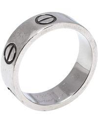Cartier Love 18k White Gold Band Ring Size 49 - Metallic