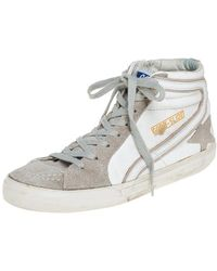 Golden Goose Deluxe Brand White/grey Leather And Suede High Top Sneakers