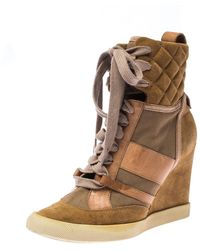Chloé Beige/brown Suede Leather And Canvas Lace Up Wedge Ankle Boots - Natural
