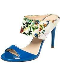 Loriblu Blue/white Floral Printed Patent Leather Slide Sandals