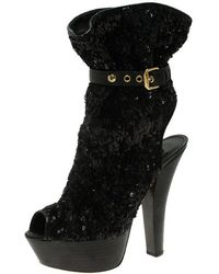 Louis Vuitton - Sequins And Leather Peep Toe Platform Ankle Boots - Lyst