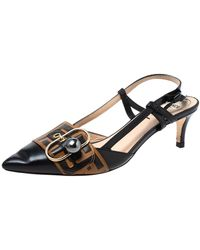 Fendi Black/brown Zucca Pearland Slingback Court Shoes