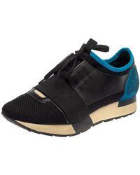 Balenciaga Black/blue Leather Race Runner Trainer