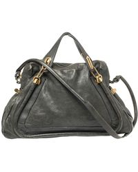 Chloé Dark Green Leather Paraty Shoulder Bag