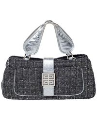Givenchy Grey Tweed And Leather Logo Plague Flap Satchel