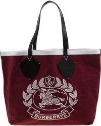 Burberry - Maroon/black Archive Logo Canvas And Leather Giant Tote - Lyst