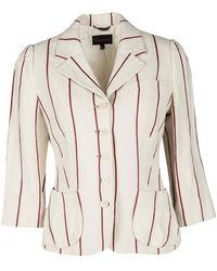 Mulberry Cream And Red Striped Linen Blazer - Natural
