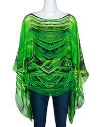 Roberto Cavalli Green Printed Silk Belted Kaftan Top