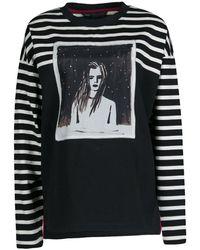 Marc By Marc Jacobs Monochrome Striped Dreamy Rhea Print Sweatshirt - Black