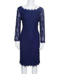 Diane von Furstenberg Navy Blue Lace Zarita Long Sleeve Dress M
