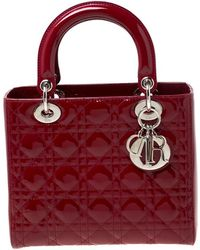 Dior Red Patent Cannage Quilted Leather Medium Lady Tote