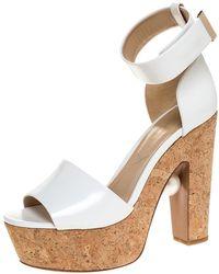 Nicholas Kirkwood Maya Pearl Detail Wedge Ankle Strap Sandals Size 39 - White