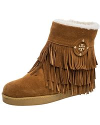 Tory Burch Brown Suede Collins Fringe Detail Boots