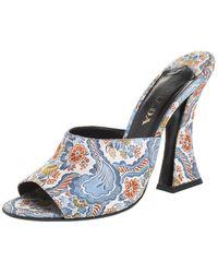 Prada Multicolor Floral Silk Brocade Mule Sandals - Blue