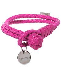 Bottega Veneta Intrecciato Nappa Fuchsia Leather Double Strand Bracelet - Pink