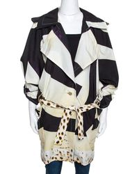 Roberto Cavalli Cream Printed Belted Trench Coat S - Natural