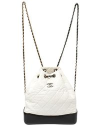 Chanel White/black Aged Quilted Leather Small Gabrielle Backpack