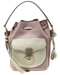 14f0f89f48e0 Ralph Lauren - Blush Pink off White Leather Ricky Drawstring Bucket Bag -  Lyst