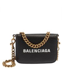 Balenciaga Black Leather Cash Mini Wallet On Chain