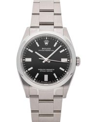 Rolex Black Stainless Steel Oyster Perpetual 126000 Wristwatch 36 Mm