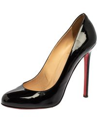 Christian Louboutin Black Patent Leather Simple Round Toe Court Shoes