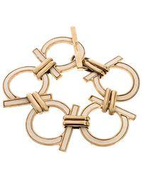 Ferragamo Gold Tone/off White Gancini Link Bracelet - Metallic